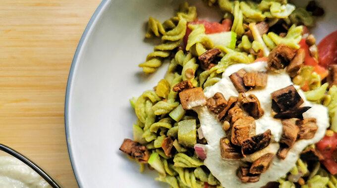 lencse tésztasaláta recept vegánblog